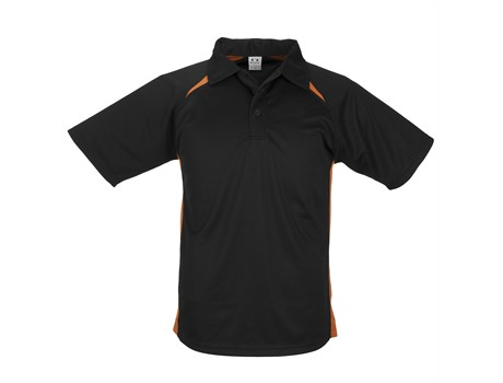 Biz Collection Kids Splice Golf Shirt in Black With Orange Code BIZ-3611