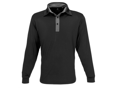 Gary Player Mens Long Sleeve Pensacola Golf Shirt in Black Code GP-7460
