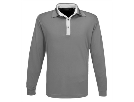 Gary Player Mens Long Sleeve Pensacola Golf Shirt in Grey Code GP-7460